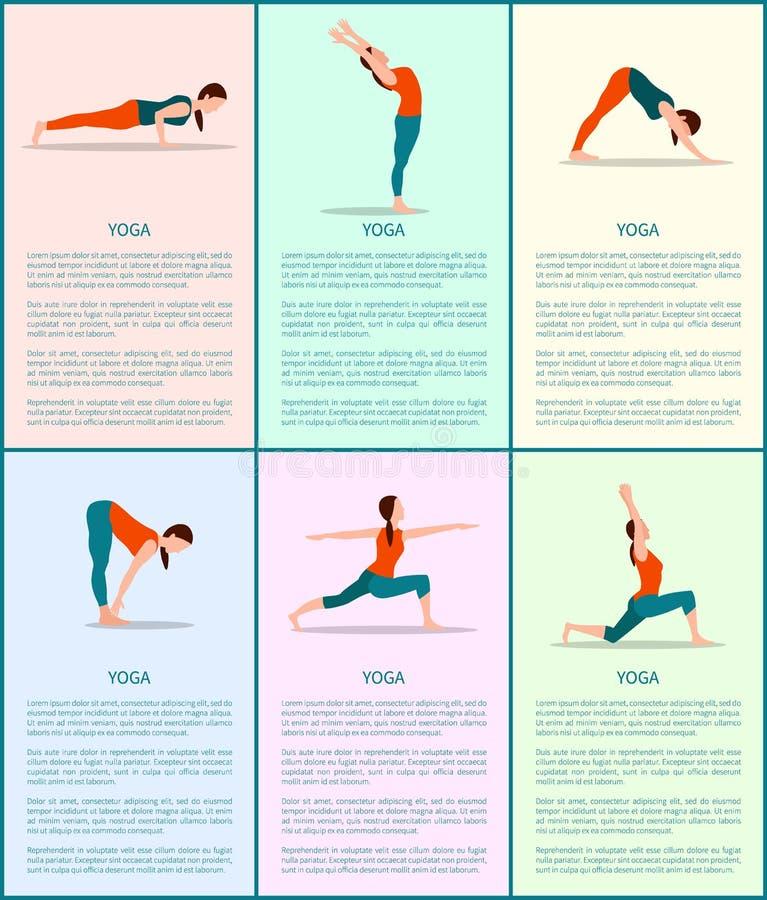 Poses coloridas ajustadas, menina desportiva do cartaz do vetor da ioga ilustração stock