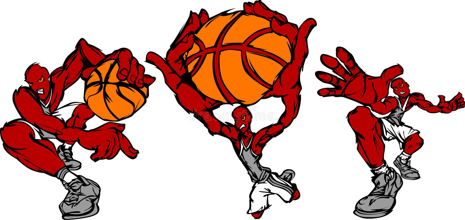 Poses d'action de joueur de basket illustration stock