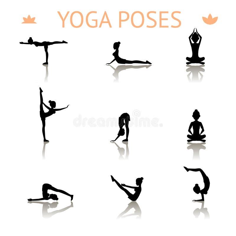 Poses da silhueta da ioga ilustração royalty free