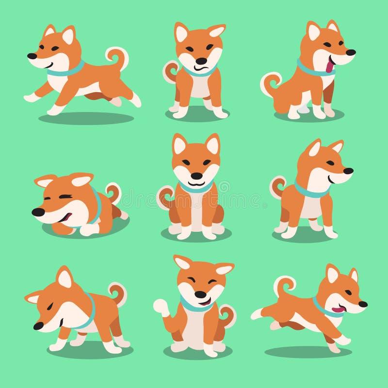 Poses de chien d'inu de shiba de personnage de dessin animé illustration libre de droits