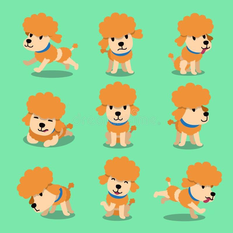 Poses de chien de caniche de personnage de dessin animé illustration stock