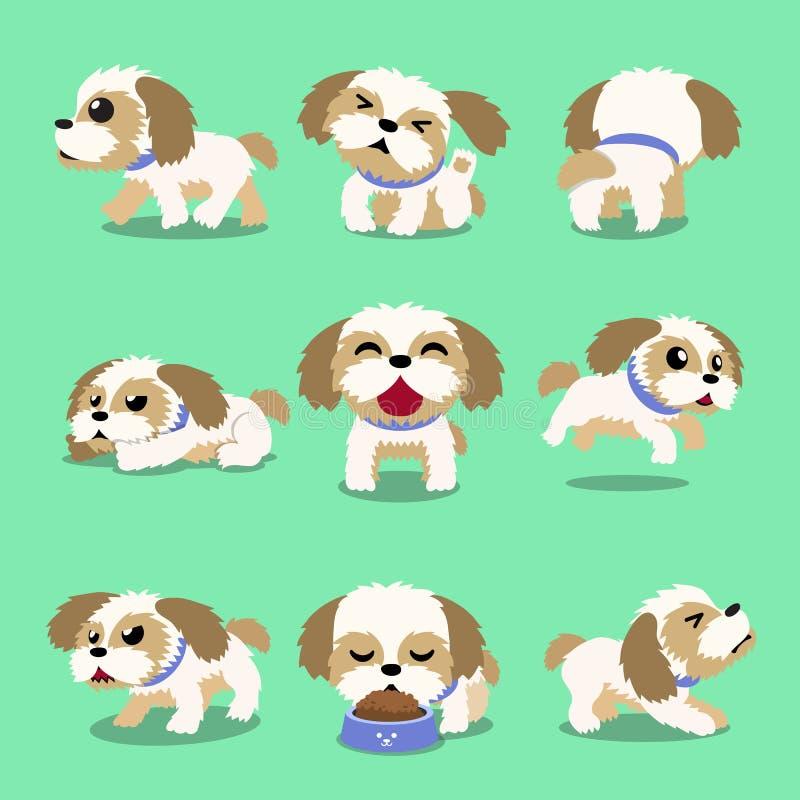 Poses de chien de tzu de shih de personnage de dessin anim? illustration libre de droits
