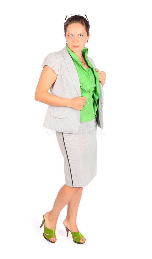 Poses de femme d'affaires dans le studio image libre de droits