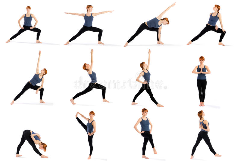 poses de forme physique restant le divers yoga de femme photo stock