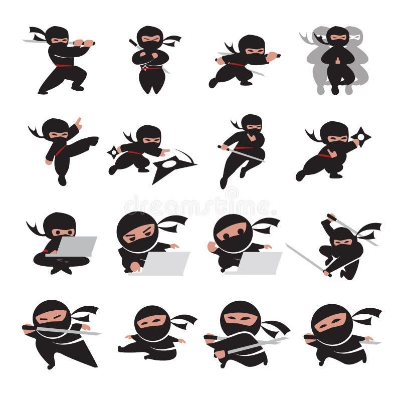 Poses de Ninja ilustração royalty free