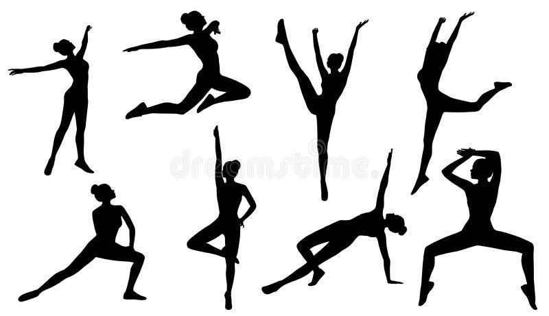 Poses de silhouette, forme physique d'aérobic de femme sur le fond blanc, Se illustration libre de droits