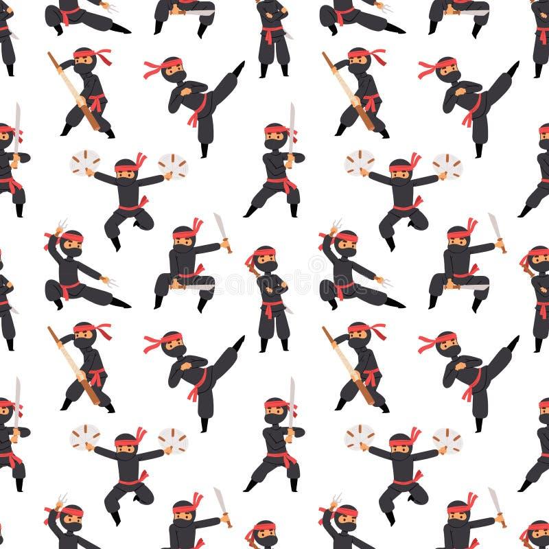 Poses diferentes do lutador do ninja no homem da arma marcial preta da espada do guerreiro do caráter de pano e em desenhos anima ilustração royalty free