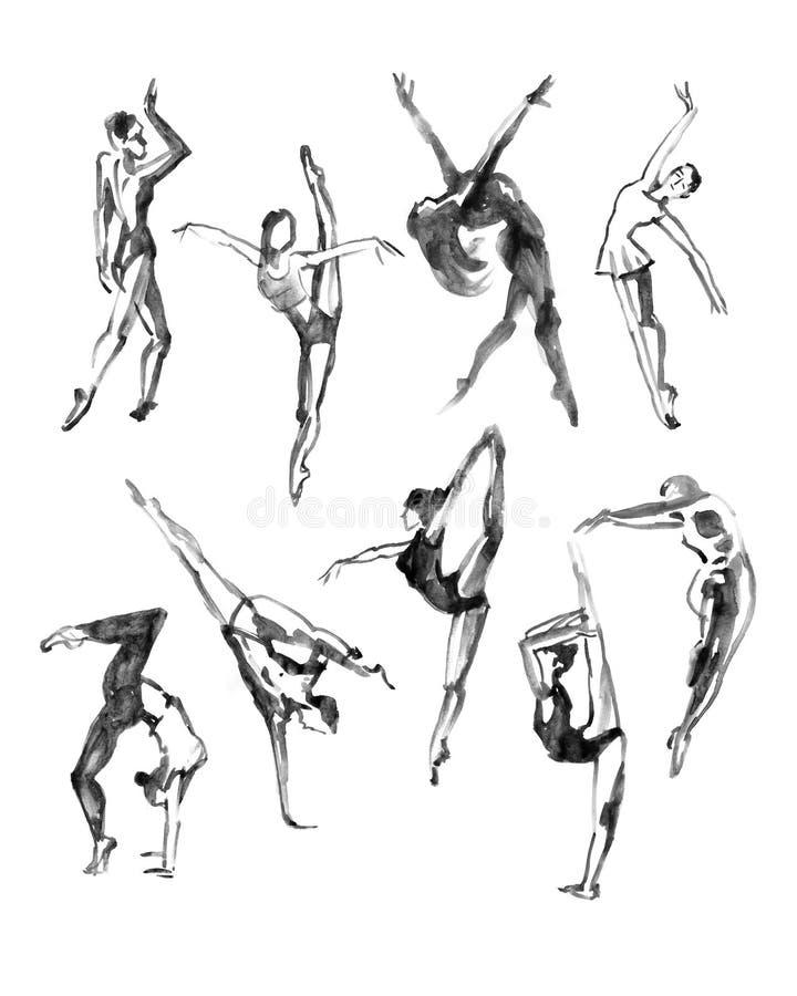 Poses do bailado ajustadas dança Ilustração da aquarela no fundo branco ilustração stock