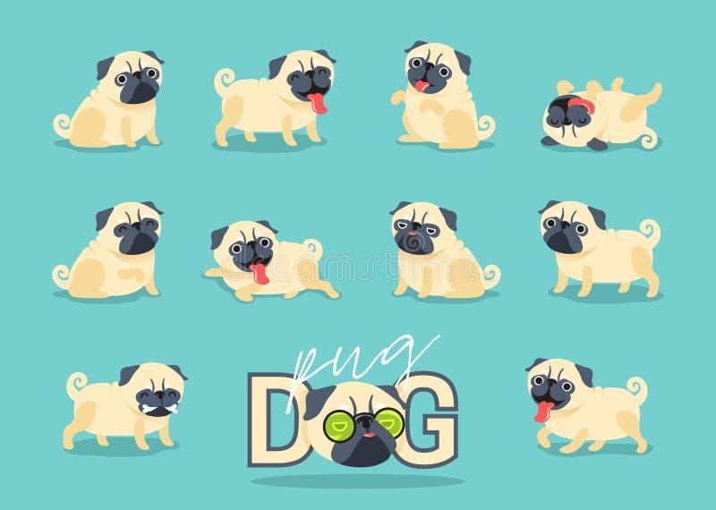 Poses do cão do pug do personagem de banda desenhada ilustração do vetor