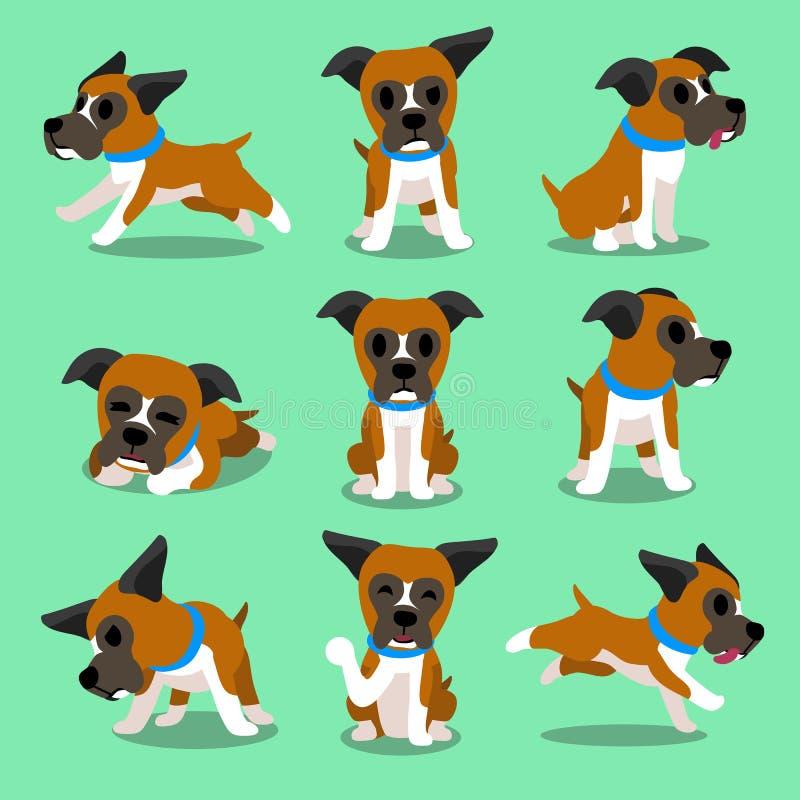 Poses do cão do pugilista do personagem de banda desenhada ilustração stock