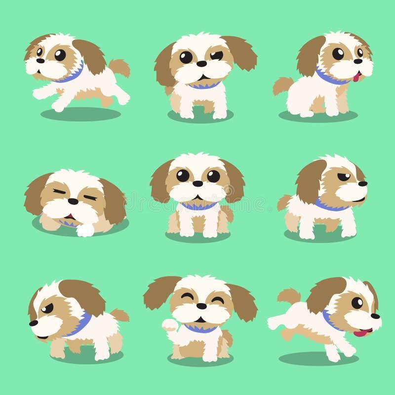 Poses do cão do tzu do shih do personagem de banda desenhada ilustração do vetor