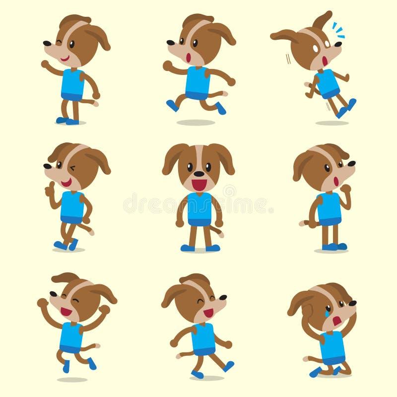 Poses do caráter do cão dos desenhos animados no fundo amarelo ilustração stock