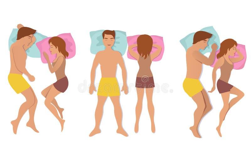 Poses do sono dos pares Homem e mulher que descansam e que sonham a ilustração do vetor de posições ilustração royalty free
