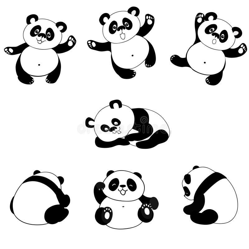Poses do urso da panda ilustração do vetor