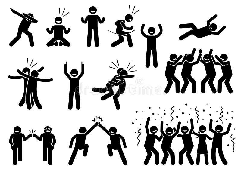 Poses e gestos da celebração ilustração stock