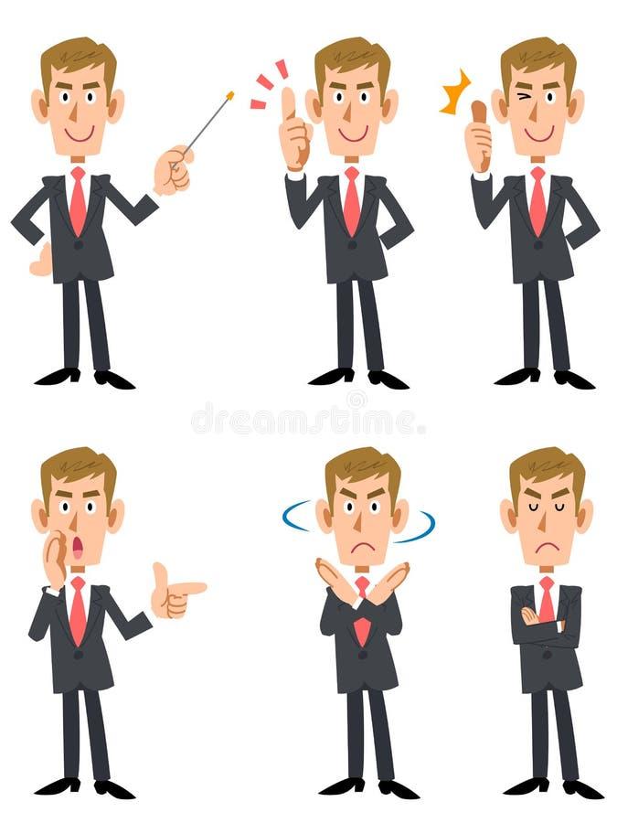 6 poses e gestos dos homens de negócios ilustração stock