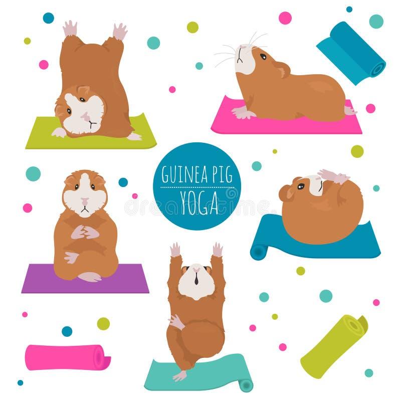 Poses et exercices de yoga de cobaye Ensemble mignon de clipart de bande dessinée illustration de vecteur
