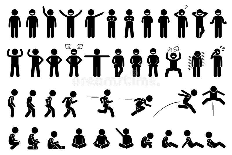 Poses et expressions de base d'enfants illustration libre de droits
