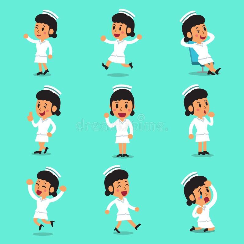 Poses fêmeas do caráter da enfermeira dos desenhos animados ilustração stock