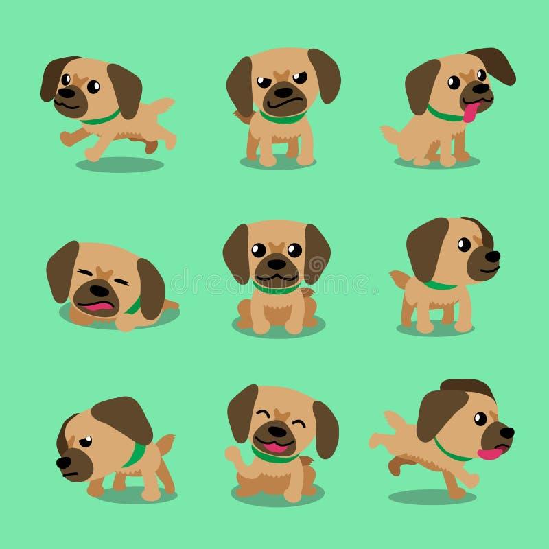 Poses tibétaines de chien d'épagneul de personnage de dessin animé illustration stock