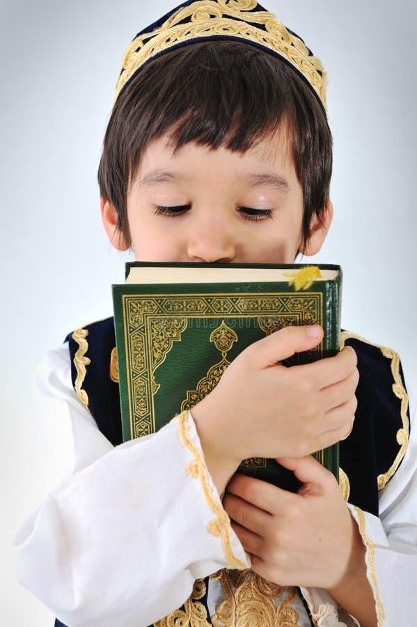 Posetive kid muslim stock photo