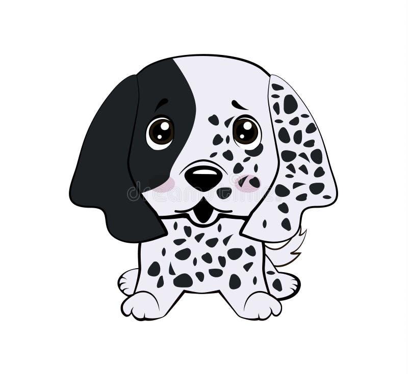 Poseur anglais de chiot de chien Dirigez le chien de bande dessinée de caractère d'Emoji d'isolement parillustration courante gên illustration libre de droits