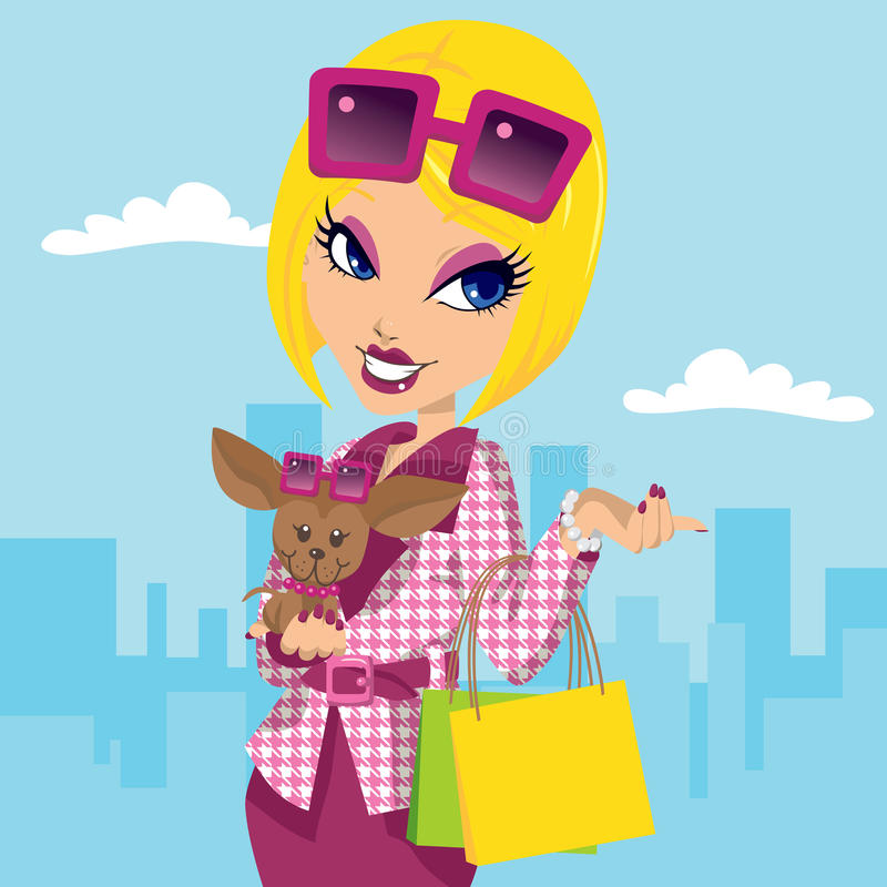 Posh Girl and Chihuahua. Blonde posh girl with chihuahua carrying shopping bags and wearing stylish pink fashion clothes royalty free illustration