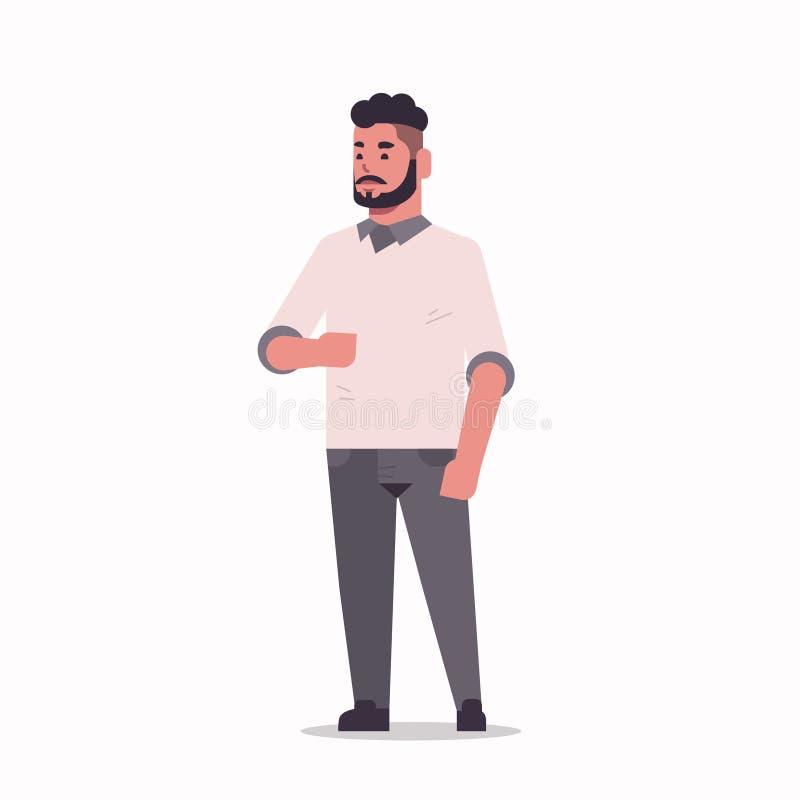 A posição árabe do homem de negócios levanta o homem farpado árabe que veste o plano completo do comprimento do personagem de ban ilustração stock