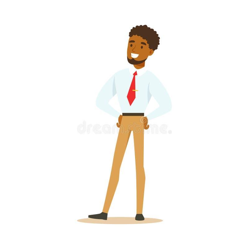 Posição afro-americano de sorriso nova do homem de negócios Ilustração colorida do vetor do personagem de banda desenhada ilustração stock