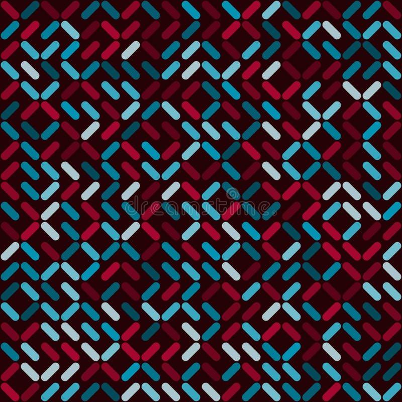 Posição aleatória geométrica arredondada sem emenda dos retângulos do vetor e teste padrão quadrado da cor em vermelho e em azul ilustração stock