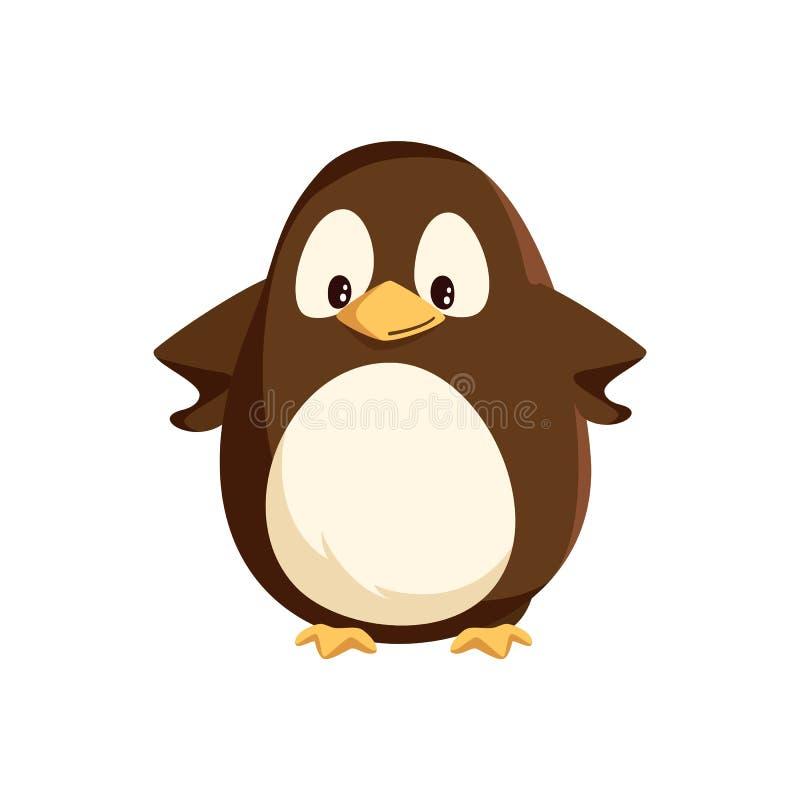 Posição animal do pinguim com mãos no vetor dos lados ilustração royalty free