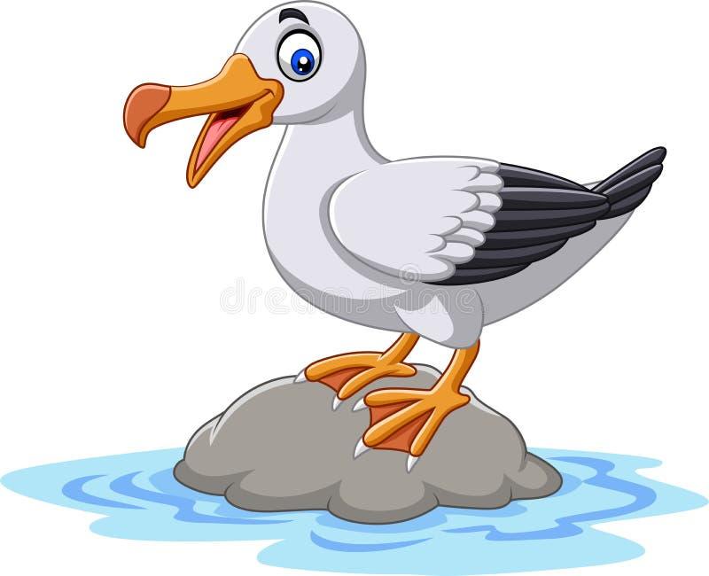 Posição bonito do albatroz do pássaro dos desenhos animados em uma rocha ilustração do vetor