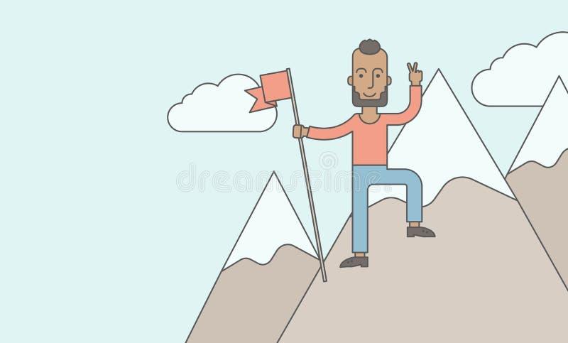 Posição caucasiano feliz sobre a montanha ilustração royalty free