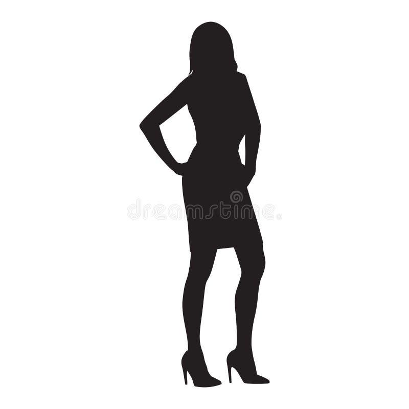 Posição com mãos em seus quadris, silhueta isolada da mulher de negócio do vetor Povos no trabalho ilustração royalty free