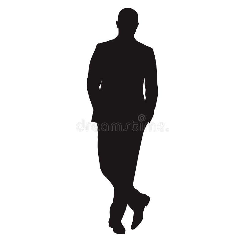 Posição com pés cruzados, silhoue isolado do homem de negócio do vetor ilustração do vetor