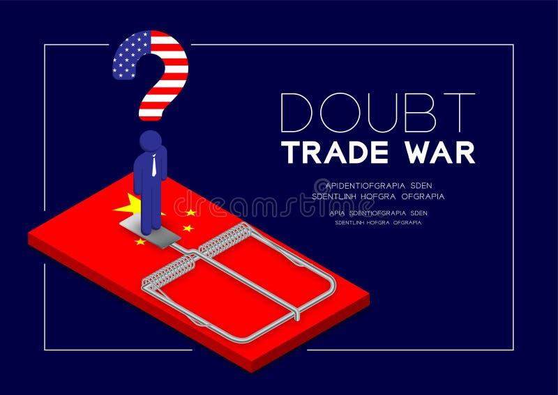 Posição da bandeira de América do pictograma e do ponto de interrogação do homem na bandeira de China da ratoeira, na armadilha d ilustração stock