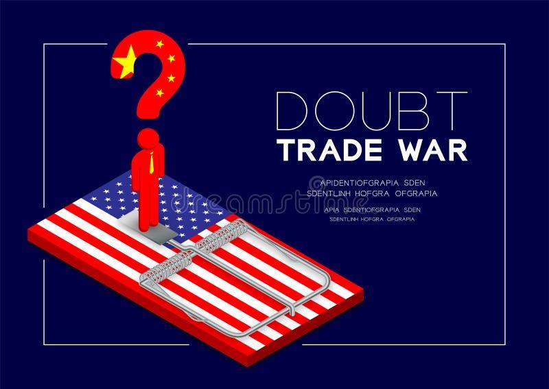 Posição da bandeira de China do pictograma e do ponto de interrogação do homem na bandeira de América da ratoeira, na armadilha d ilustração stock