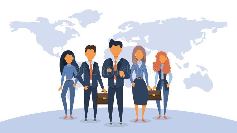 Posição da equipe do negócio no terno grupo ilustração stock