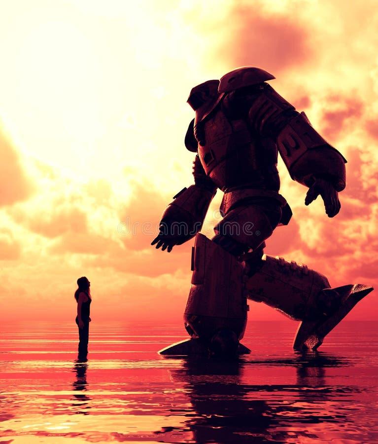 Posição da menina no mar que olha a um robô gigante ilustração stock