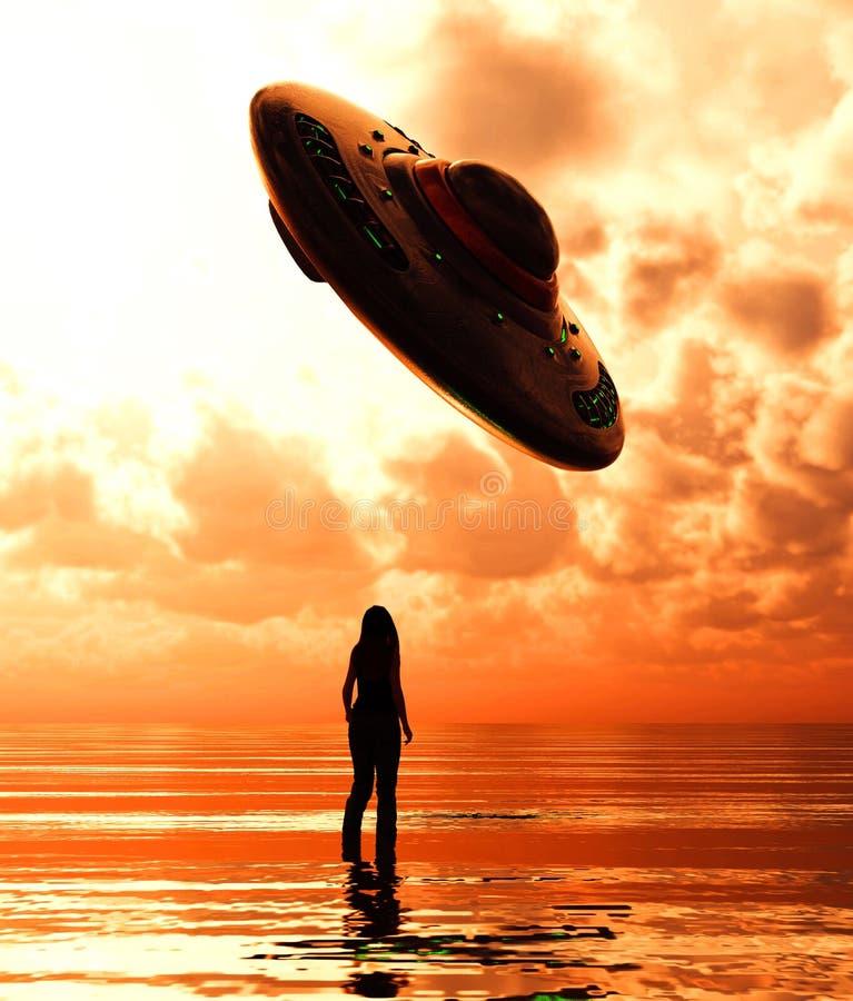 Posi??o da menina no mar que olha a uns pires do UFO ilustração royalty free