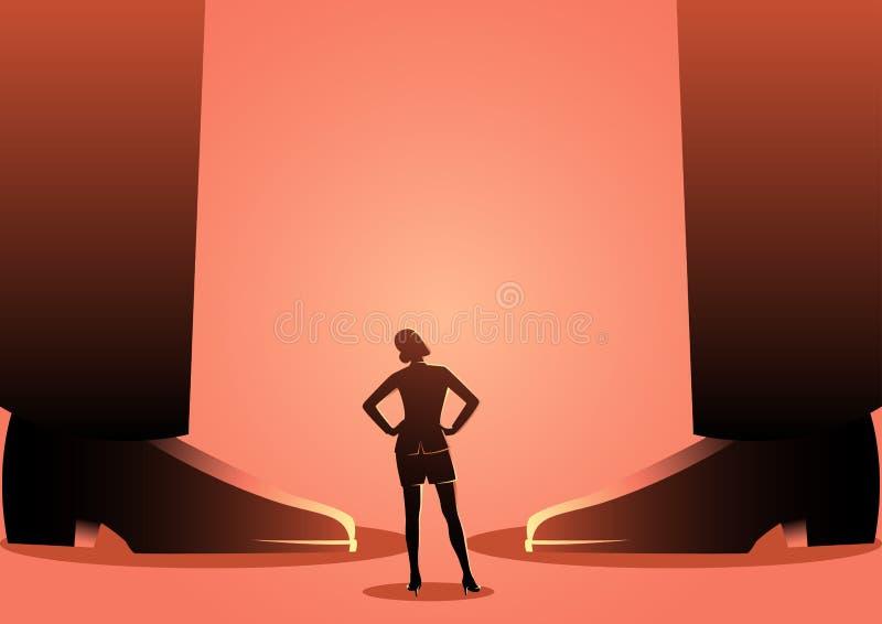 Posição da mulher de negócio entre os pés dos homens gigantes ilustração stock