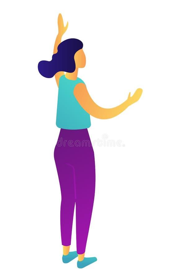 Posição da mulher de negócios com ilustração 3D isométrica levantada da mão ilustração stock