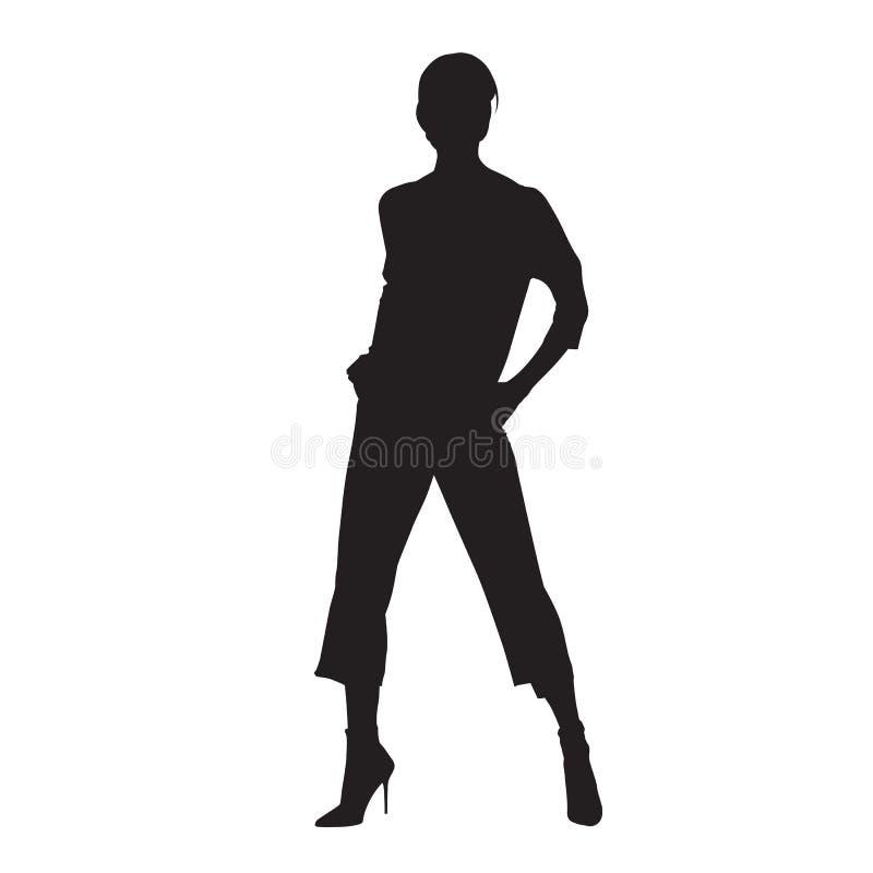 Posição da mulher da forma, levantando o modelo fêmea na calças com mãos em uns bolsos Silhueta isolada do vetor ilustração do vetor