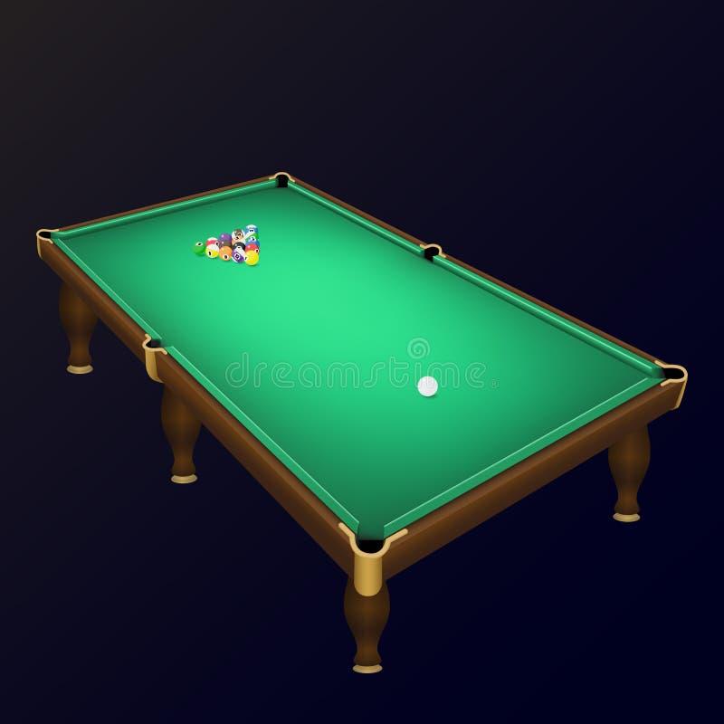 Posição das bolas de jogo do bilhar sobre uma mesa de bilhar realística ilustração royalty free