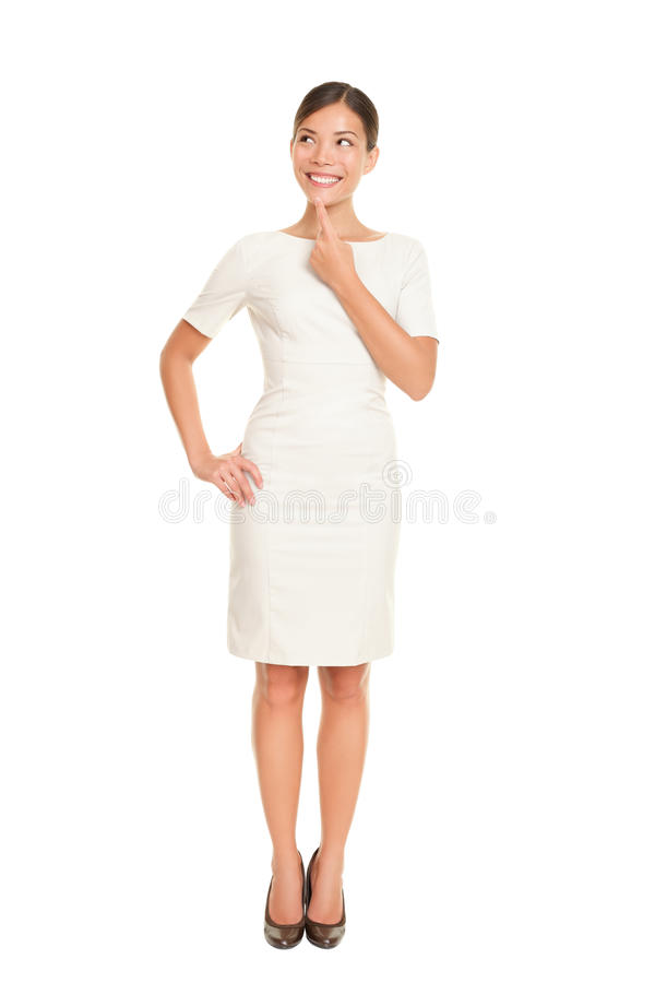 Posição de pensamento da mulher de negócio imagens de stock royalty free
