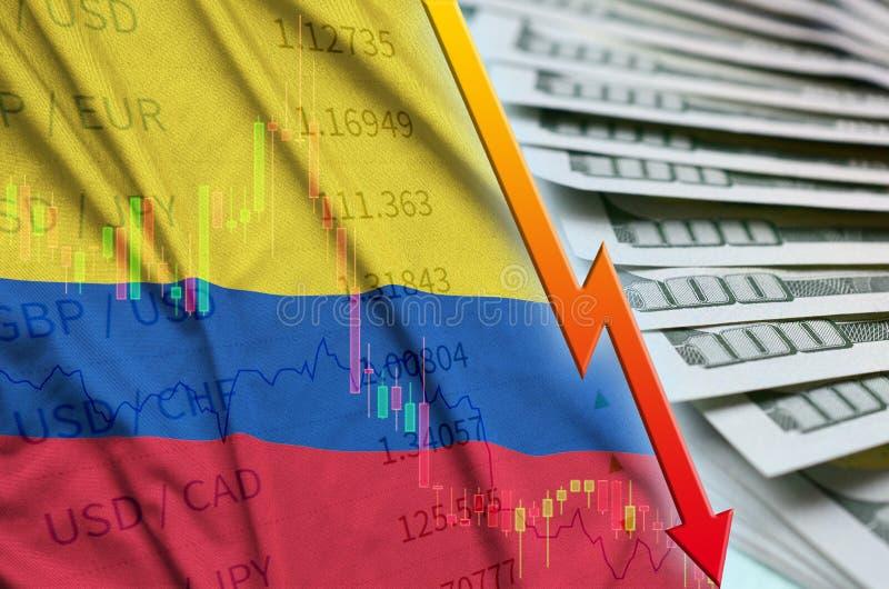 Posição de queda do dólar americano da bandeira e da carta de Colômbia com um fã das notas de dólar ilustração stock