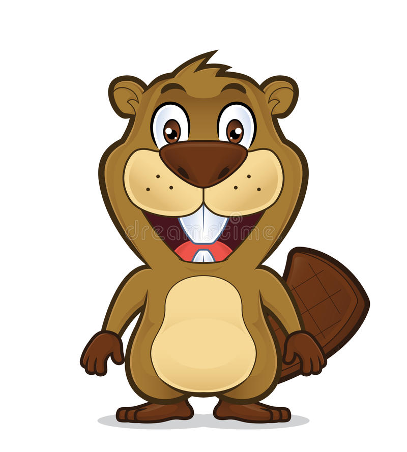 Posição de sorriso do castor ilustração royalty free