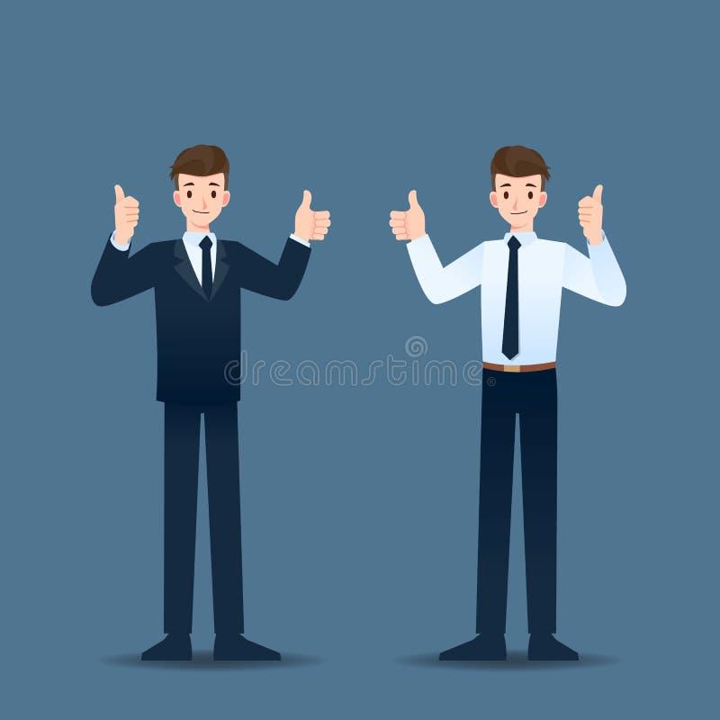 Posição de sorriso e polegar do homem de negócios até alegres para sua carreira bem sucedida ilustração do vetor