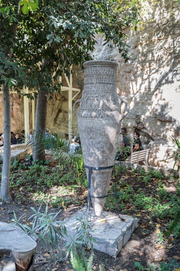 Posição decorativa da embarcação no Jerusalém do túmulo do jardim situado no Jerusalém do leste, Israel fotos de stock