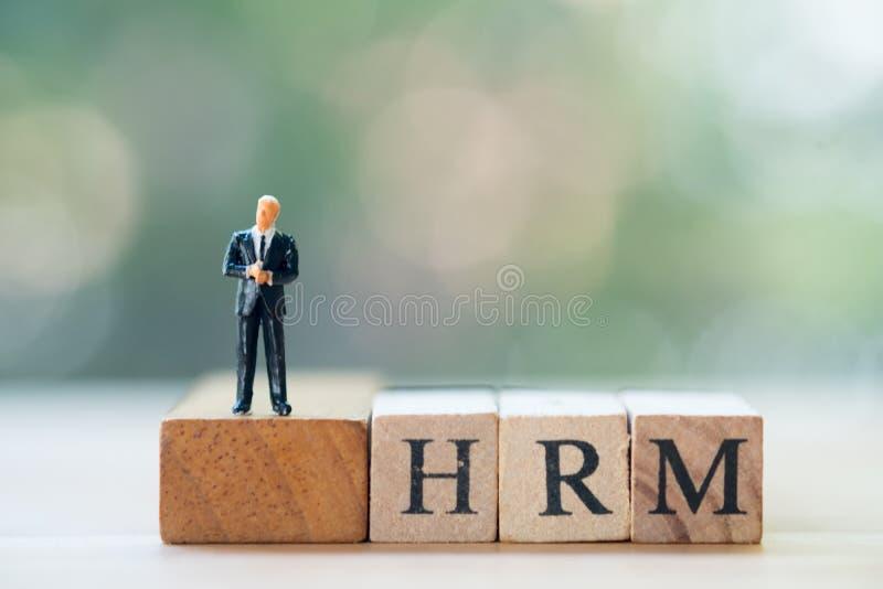 Posição diminuta do homem de negócios na gestão de recursos humanos de madeira da palavra HRM do bloco: HRM imagens de stock royalty free